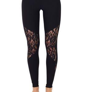 NWT Black lace tech leggings